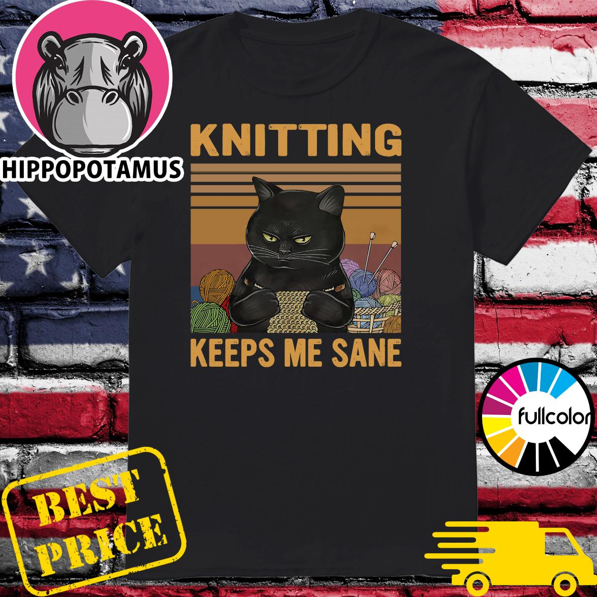 Official Black Cat Knitting Keeps Me Sane Vintage Shirt
