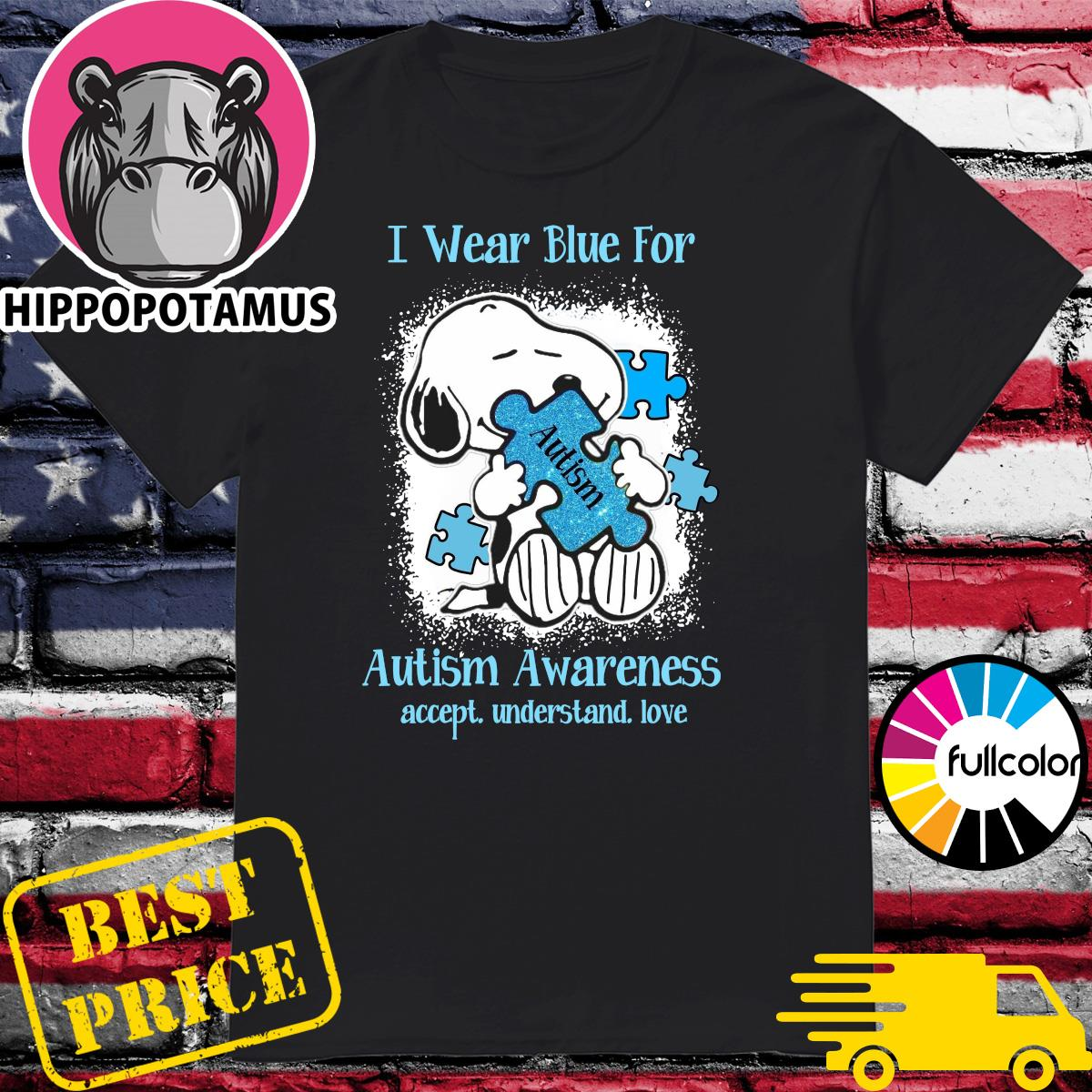 Official Snoopy Hug Autism I Wear Blue For Autism Awareness Accept Understand Love Shirt