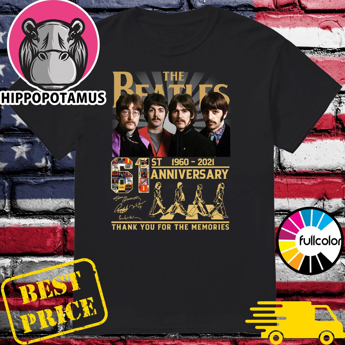 Official Thank You For The Memories The Beatles Abbey Road 61st Anniversary 1960 2021 Signatures Shirt