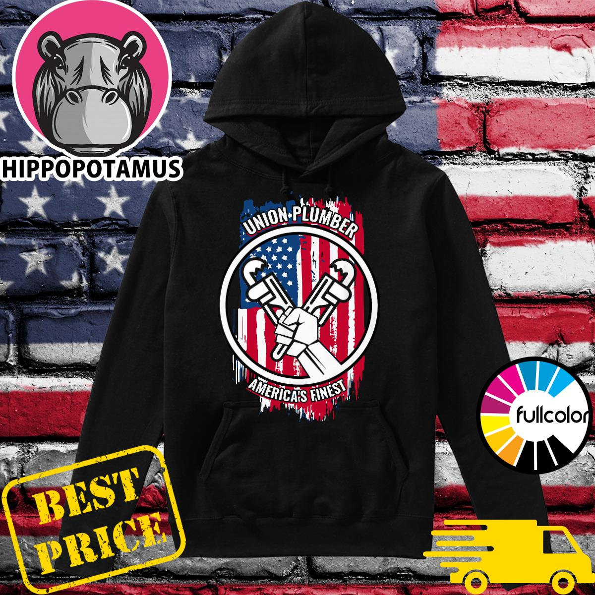 Official Union Plumber America's Finest American Flag Shirt Hoodie