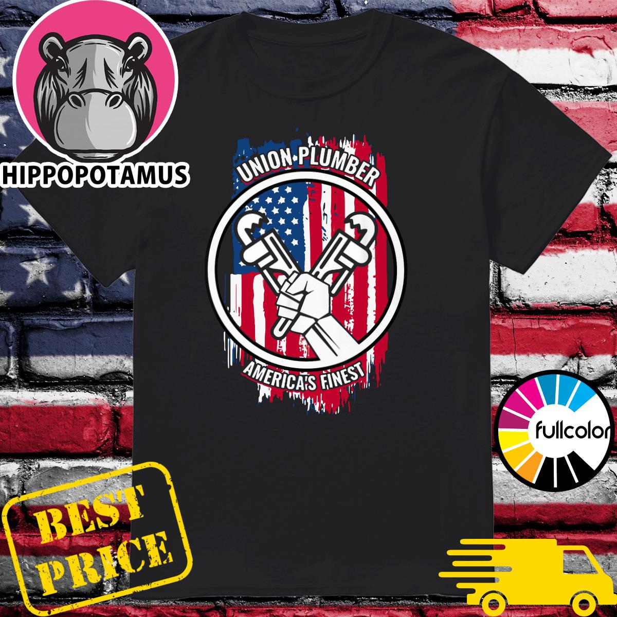 Official Union Plumber America's Finest American Flag Shirt