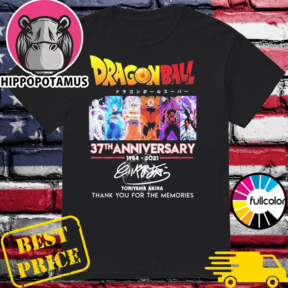 Dragon Ball 37th anniversary 1984 2021 Toriyama Akira thank you for the memories shirt