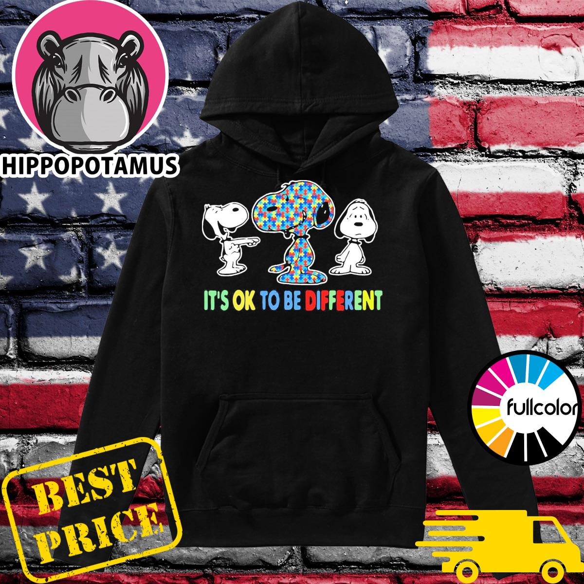 Official Autism Snoopy It's Ok To Be Different Shirt Hoodie