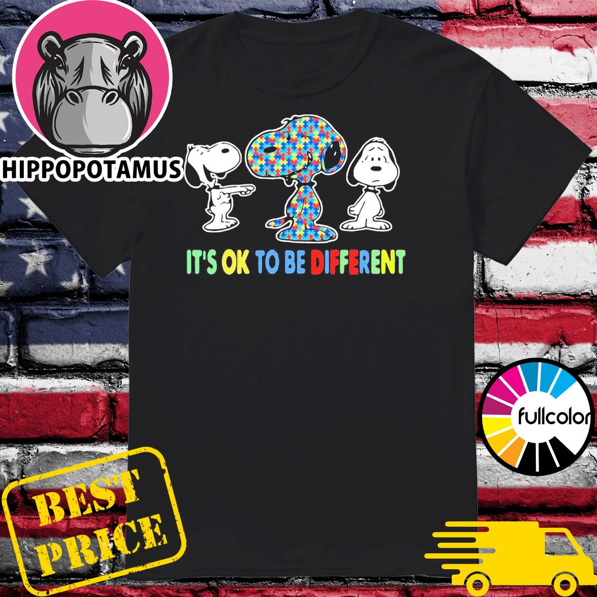 Official Autism Snoopy It's Ok To Be Different Shirt