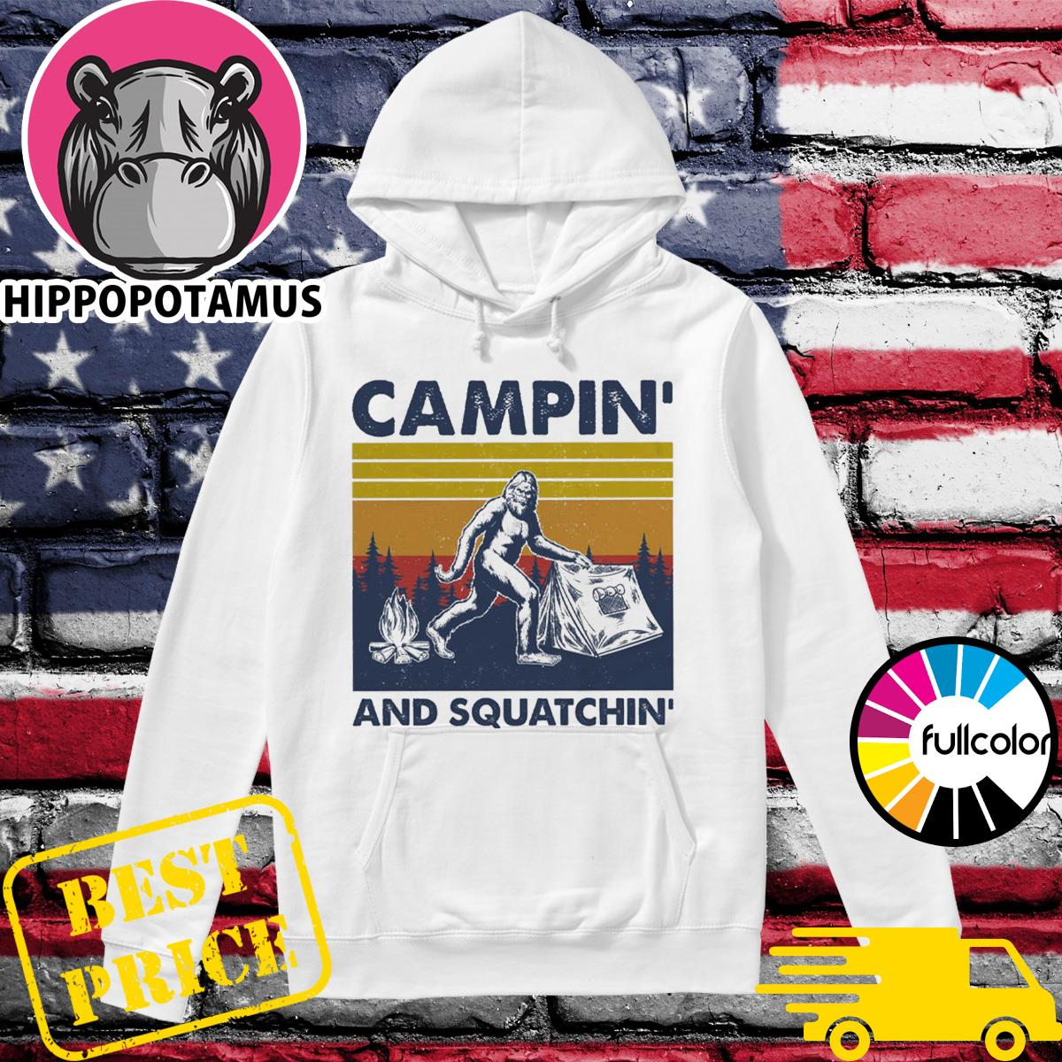 Official Bigfoot Campin' And Squadchin' Vintage Shirt Hoodie
