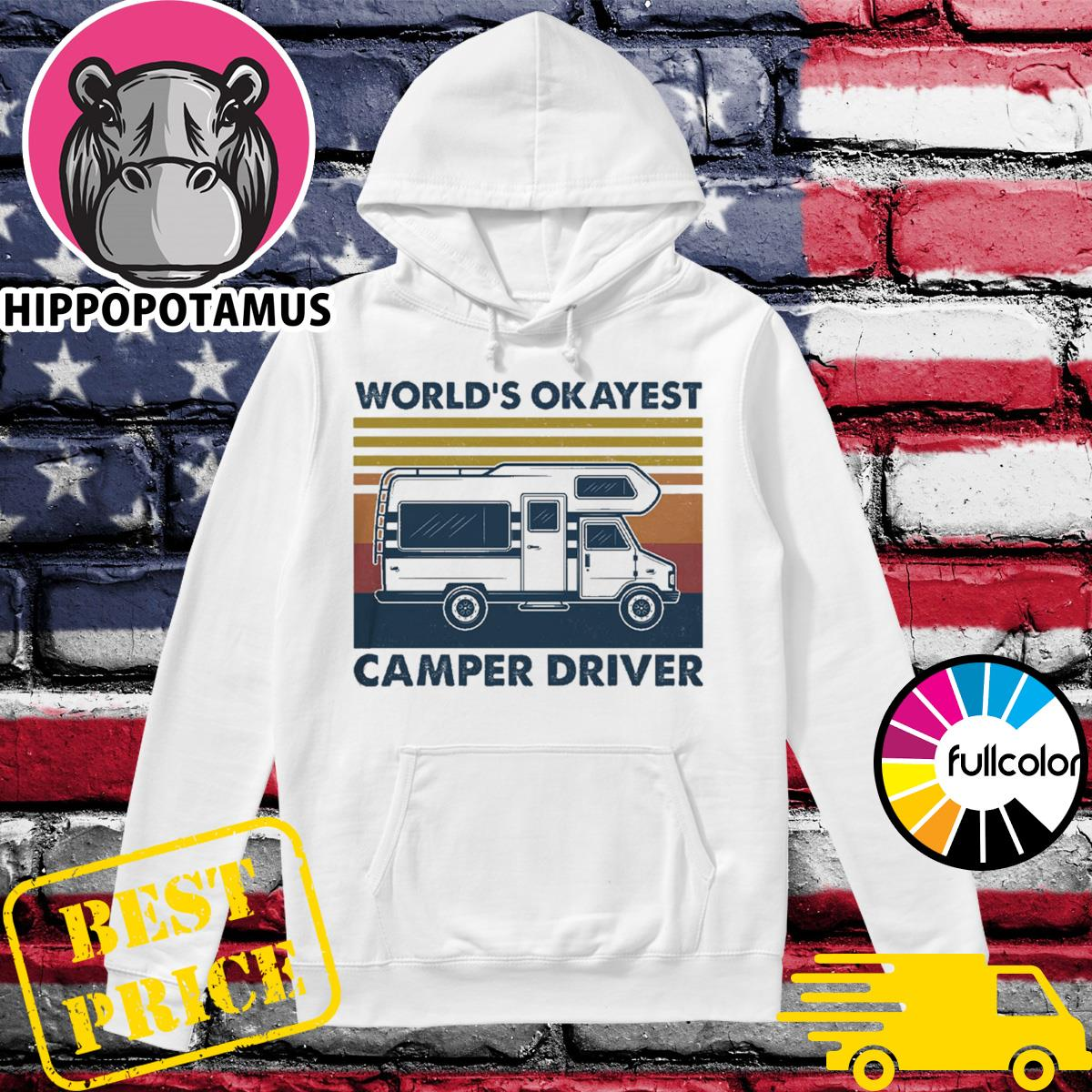 Official The World's Okayest Camper Driver Vintage Shirt Hoodie