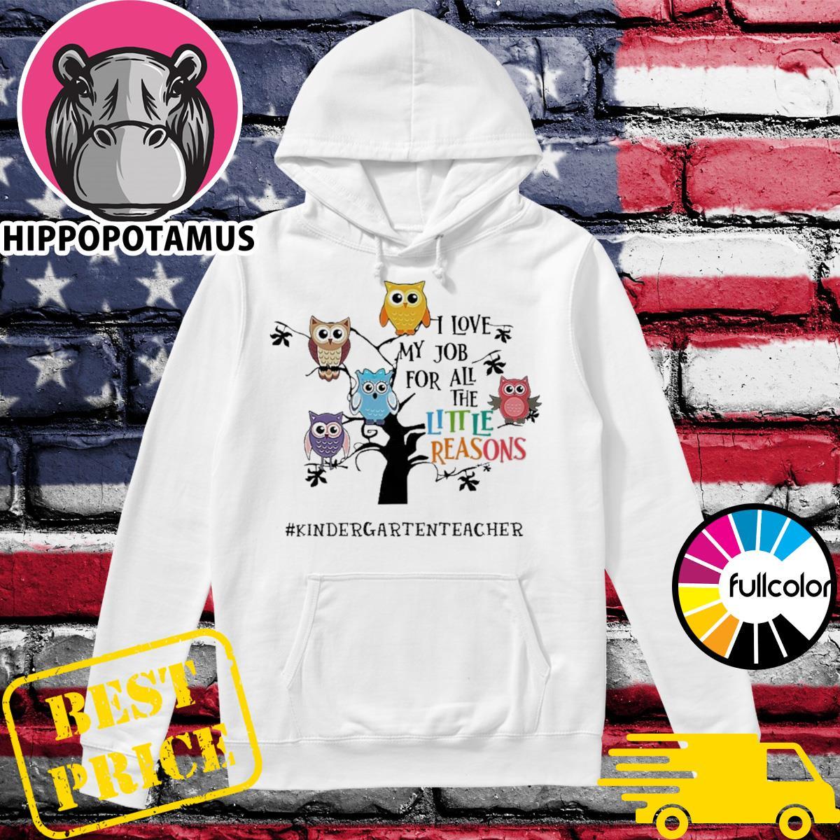 Owls I Love My Job For All The Little Reasons Kindergarten Teacher Shirt Hoodie