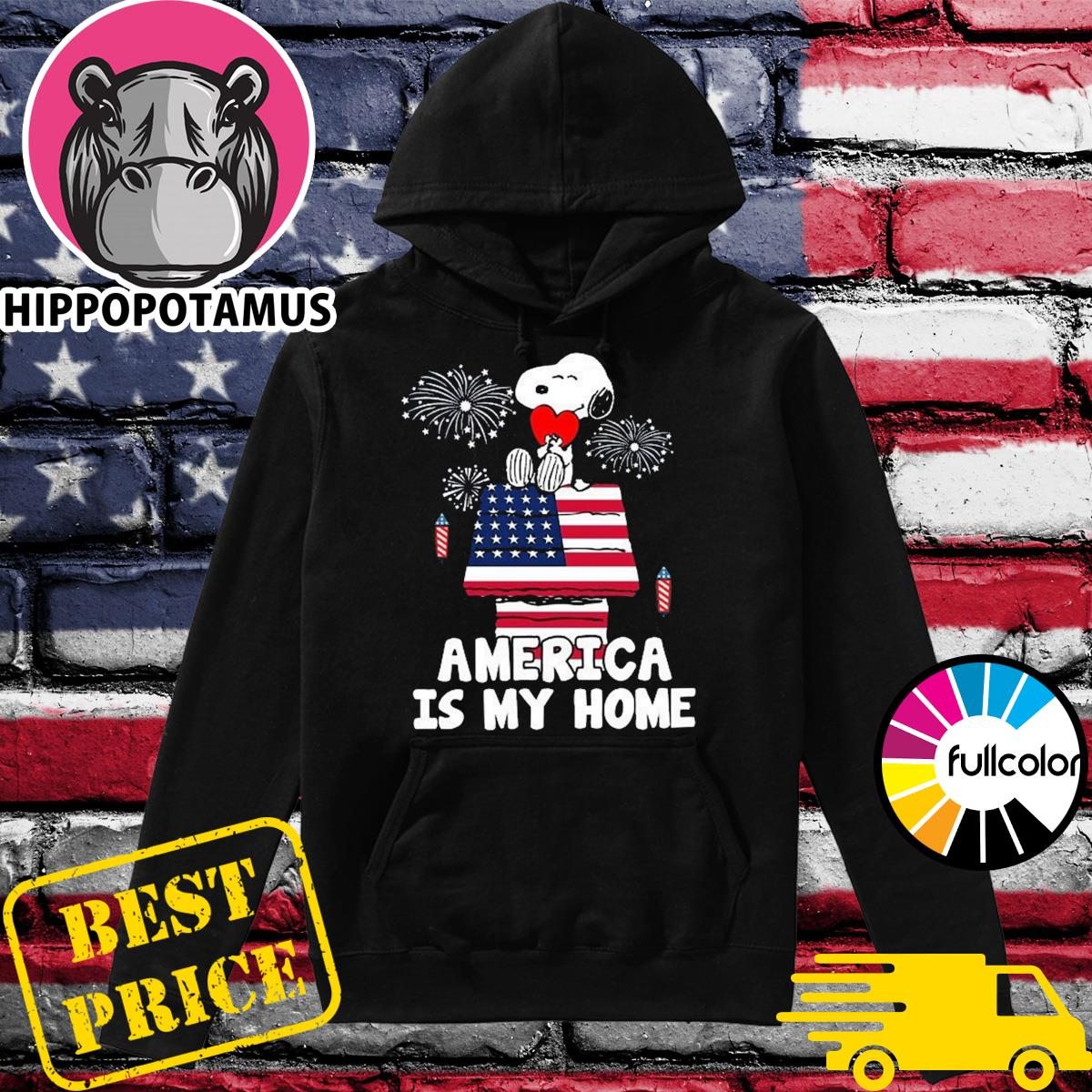 Snoopy Hug Heart Emerica Is My Home Funny 4th Of July, Independence Day Shirt Hoodie