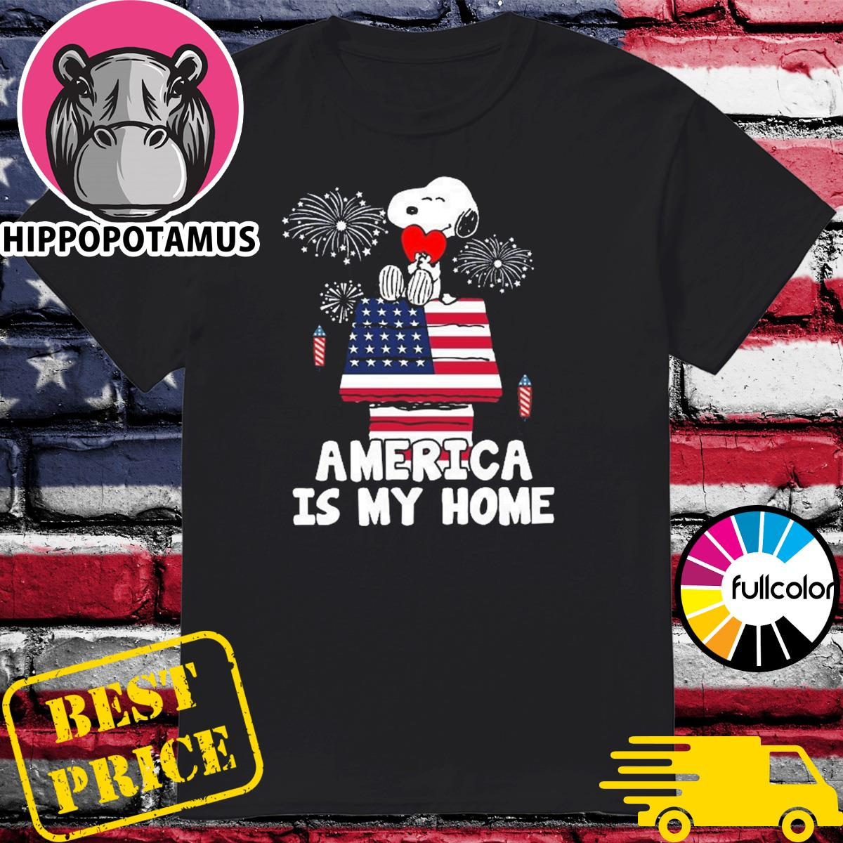 Snoopy Hug Heart Emerica Is My Home Funny 4th Of July, Independence Day Shirt